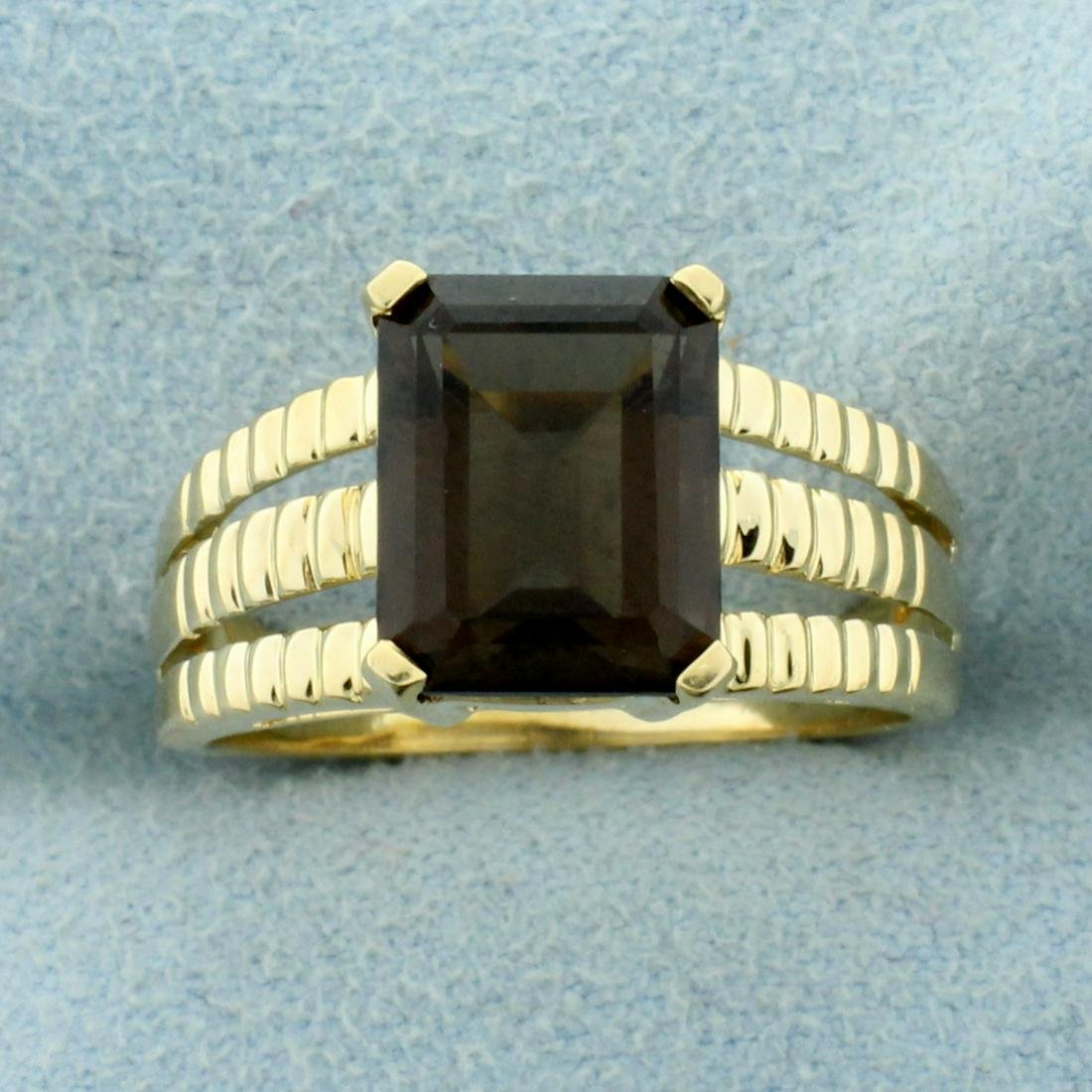 4ct Smoky Topaz Solitaire Ring in 14K Yellow Gold