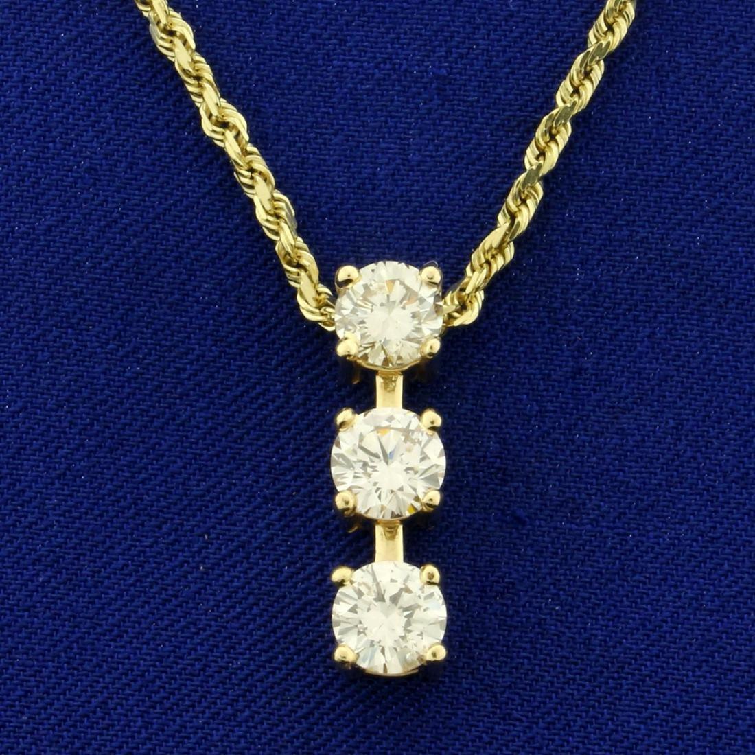 2.3ct TW 3 Stone Diamond Journey Pendant on Chain in
