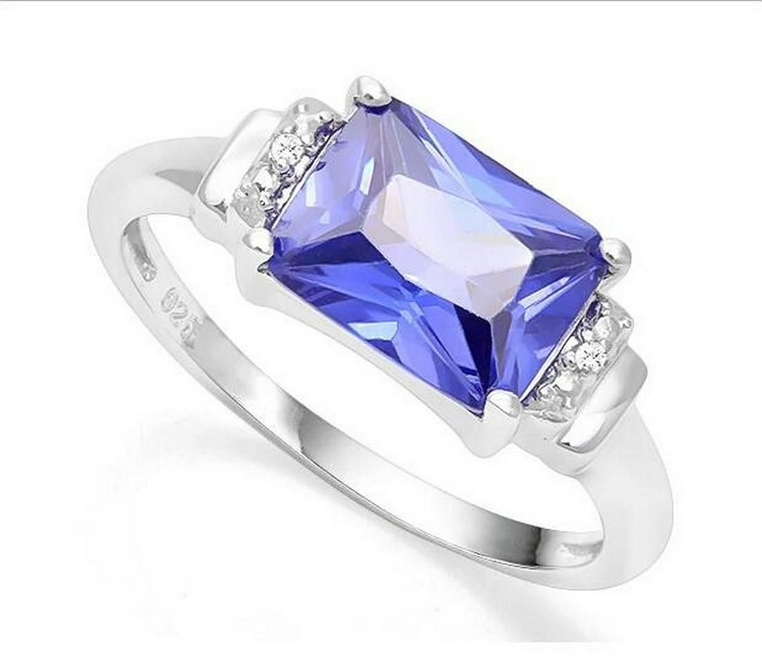 3.6CT Tanzanite & Diamond Ring in Sterling Silver