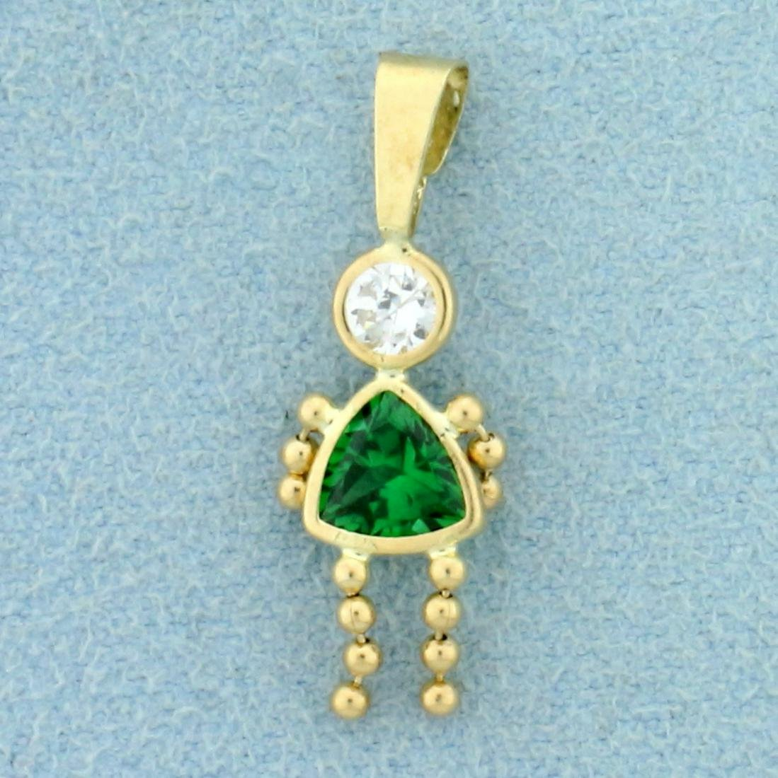 Child Girl Pendant with Green Quartz and CZ in 14K