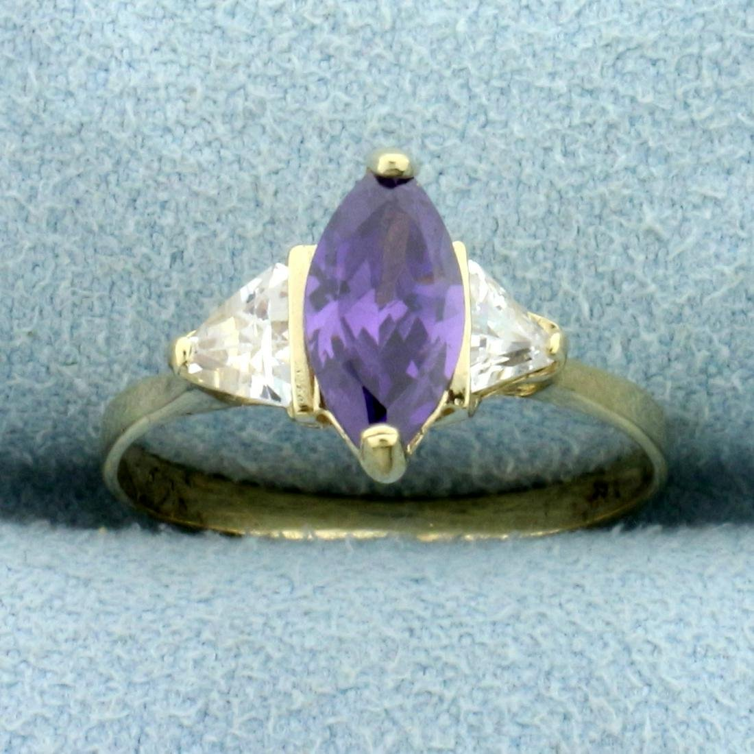 Amethyst and CZ Three-Stone Ring in 10K Yellow Gold