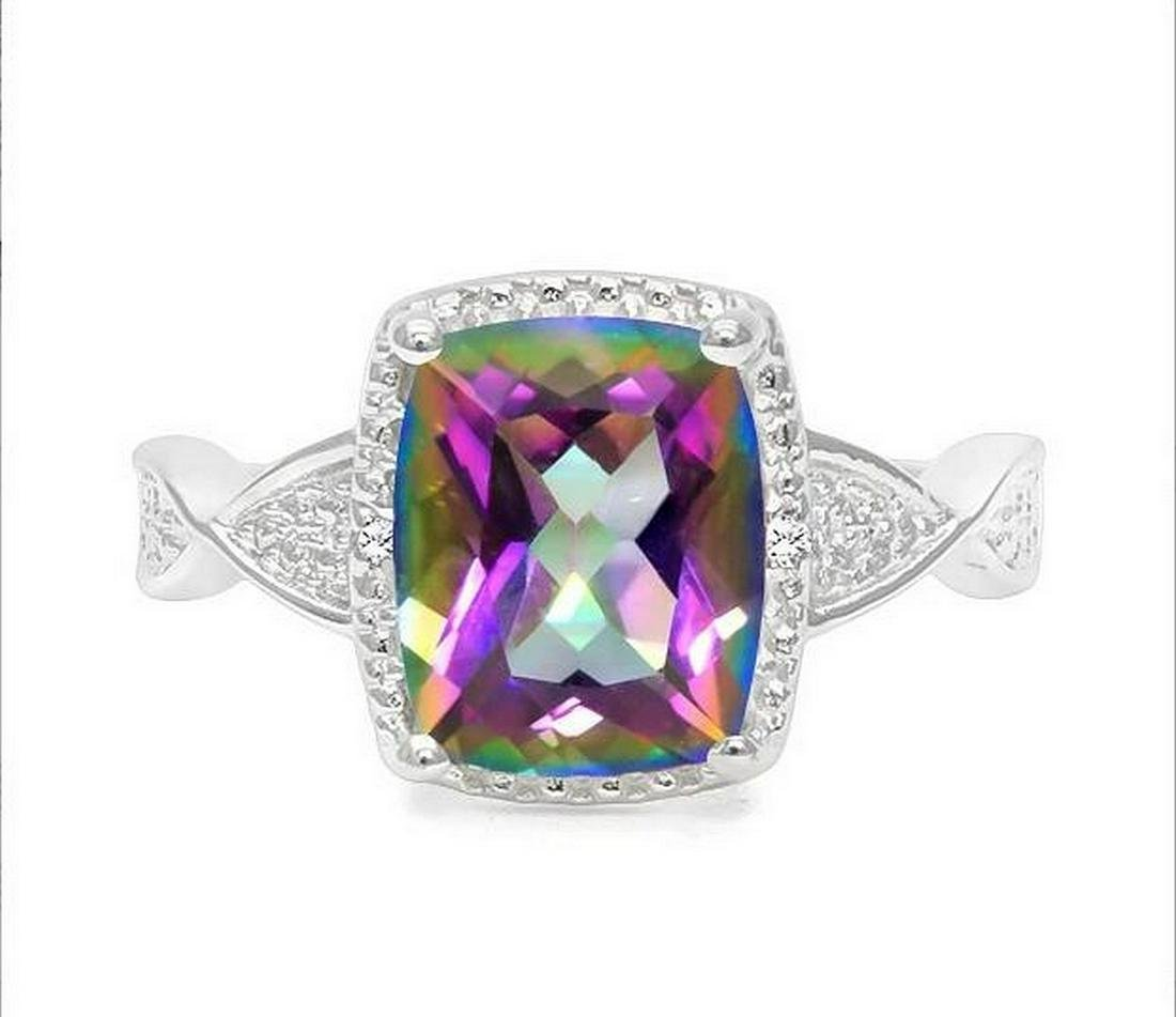 2.5CT Mystic Topaz & Diamond Ring in Sterling Silver
