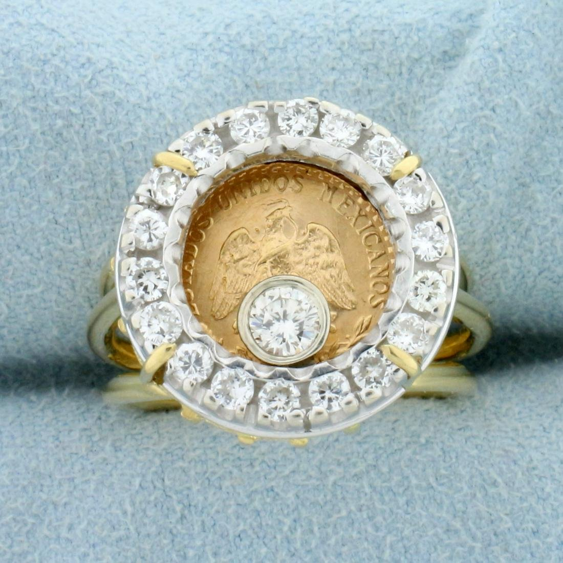 2.5 Peso Mexican Gold Coin Diamond Ring in 18K Yellow