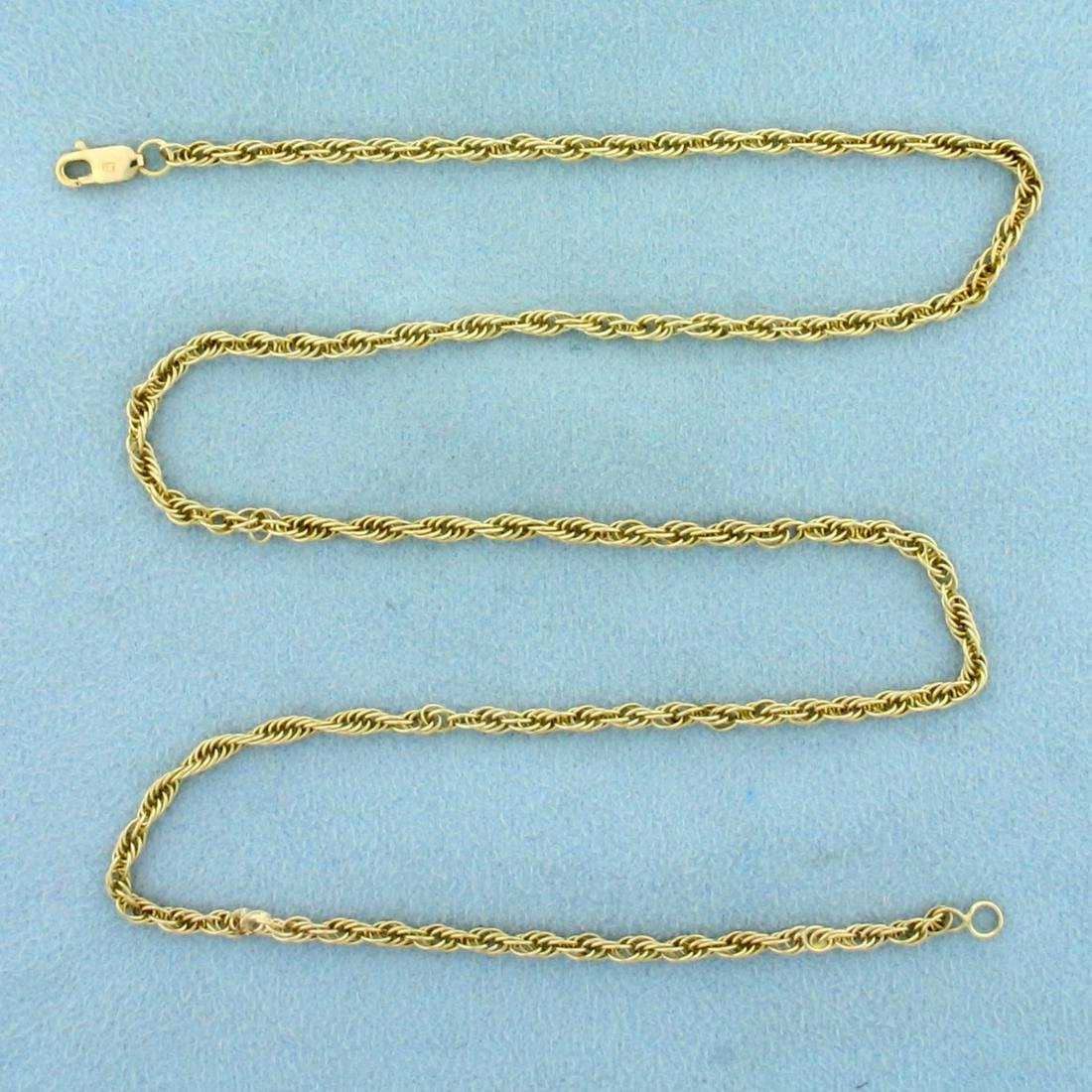 17 1/2 Inch Rope Style Chain Necklace in 14K Yellow