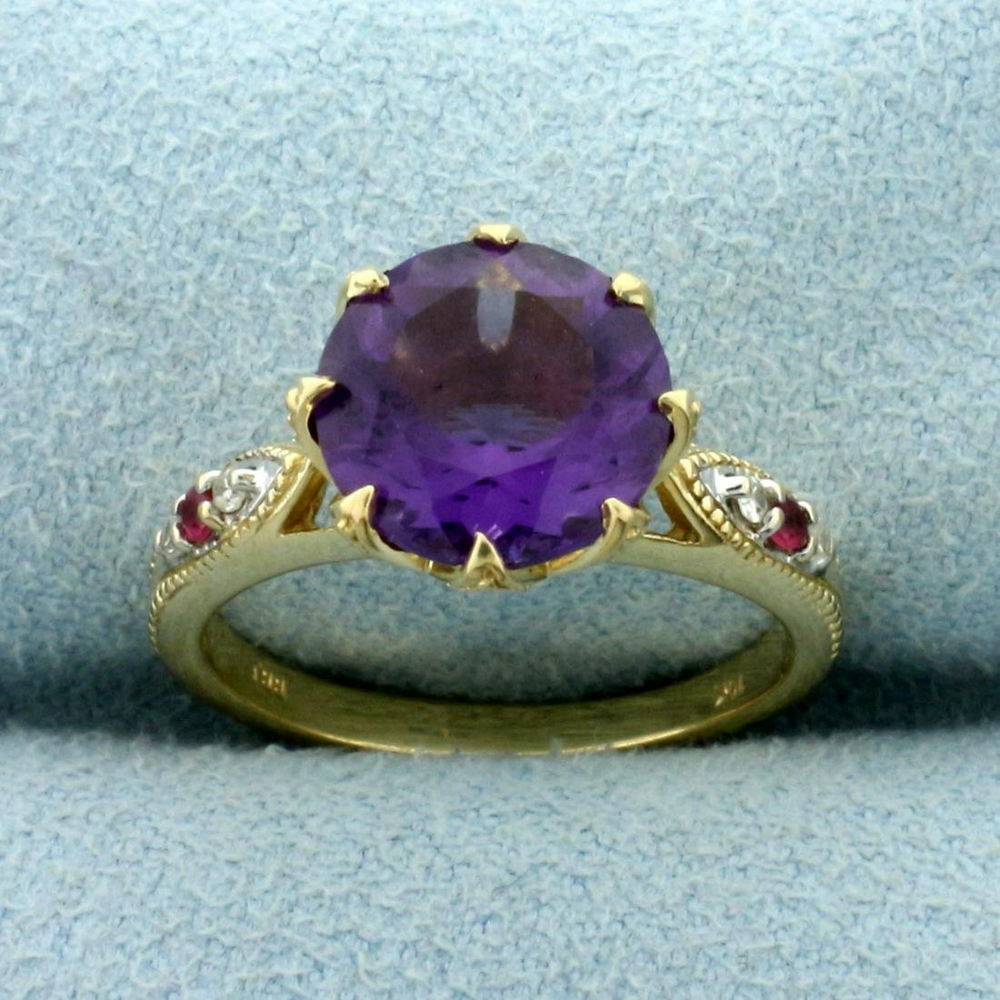 Vintage Amethyst, Garnet, and Diamond Ring in 10K