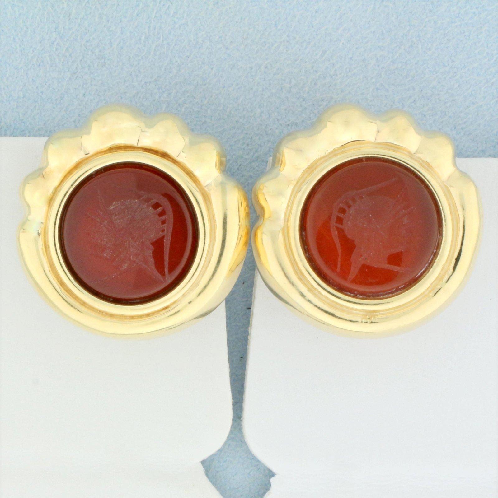 Large Statement Cameo Carnelian Earrings in 14K Yellow