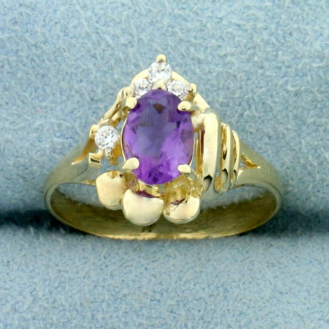 Amethyst and CZ Abstract Ring in 10K Yellow Gold