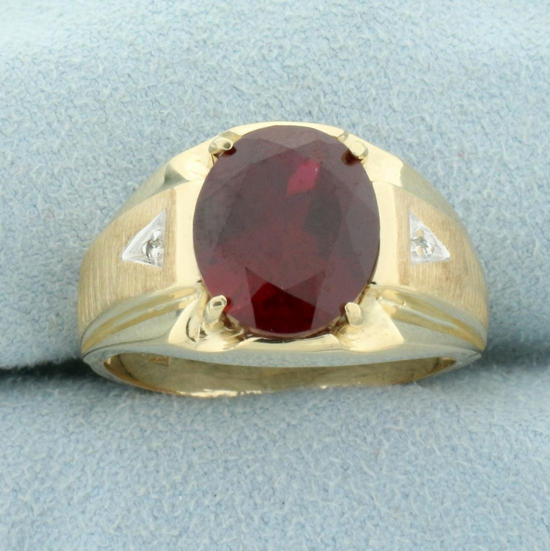 Men's 5ct Lab Ruby and Diamond Ring in 10K Yellow Gold