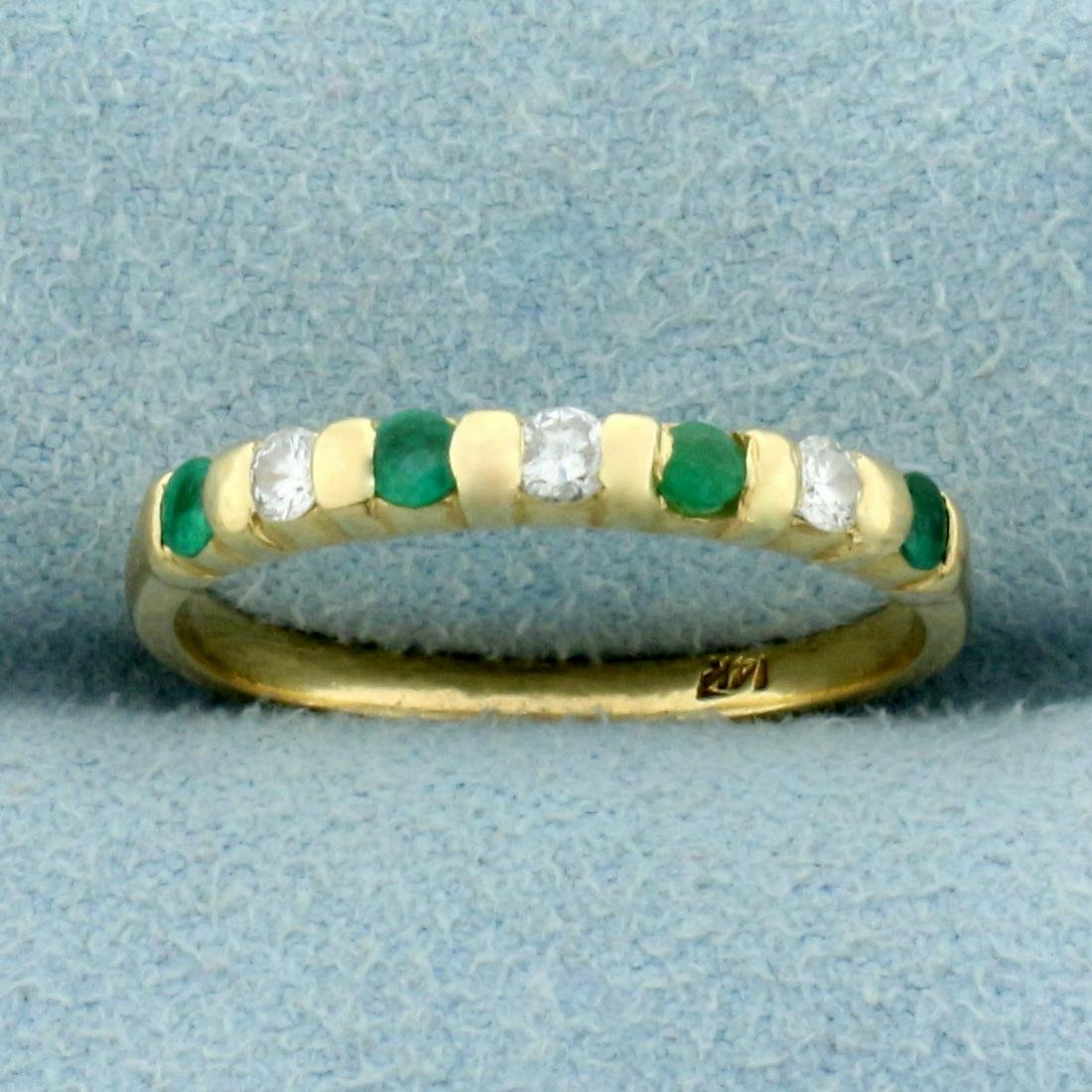 1/3ct TW Emerald and Diamond Band Ring in 14K Yellow