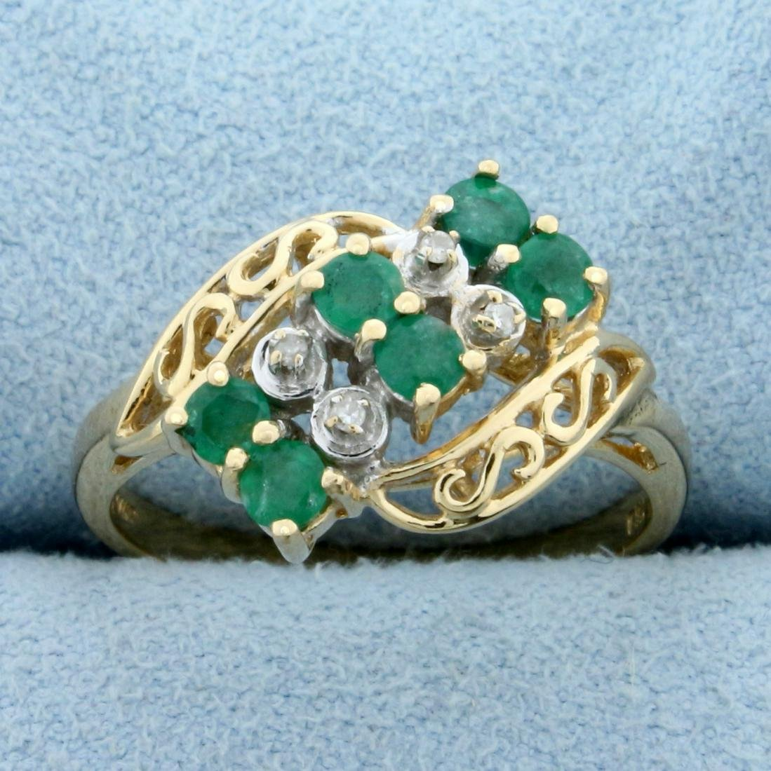 1/2ct TW Emerald and Diamond Ring in 14K Yellow Gold