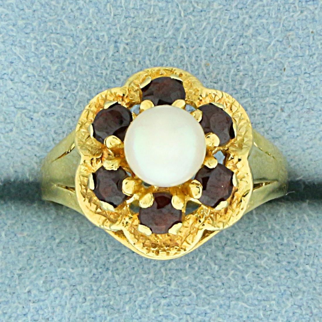 Vintage Garnet and Akoya Pearl Flower Ring in 18K