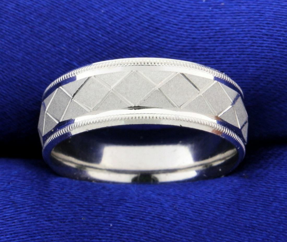 Designer Beaded Edge Geometric Design Wedding Band Ring