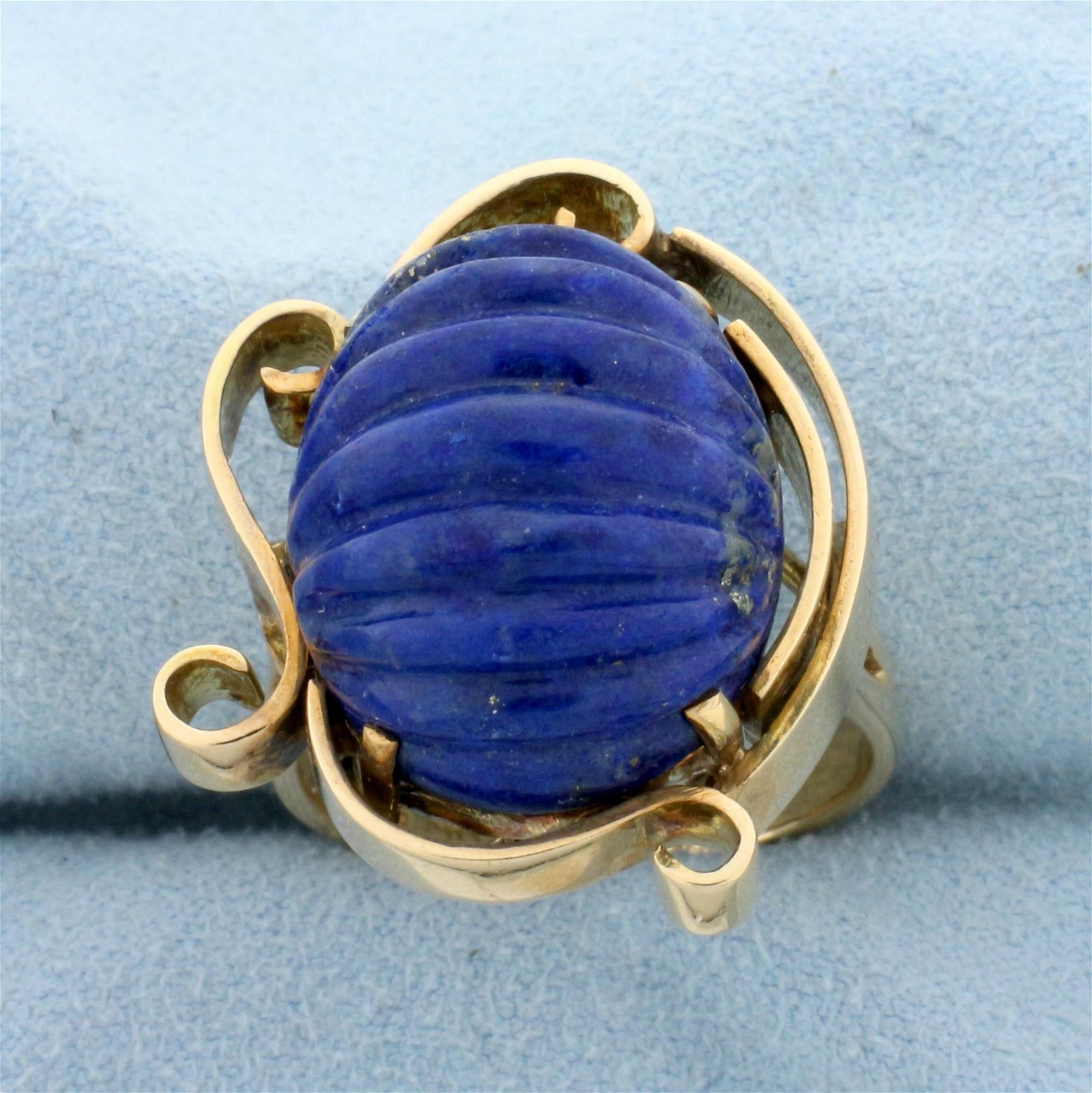 Unique Lapis Statement Ring in 14k Yellow Gold
