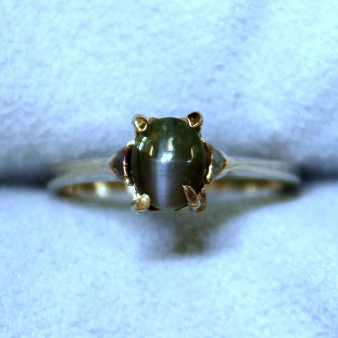 Chrysoberyl Cat's Eye Solitaire Ring in 14K White Gold