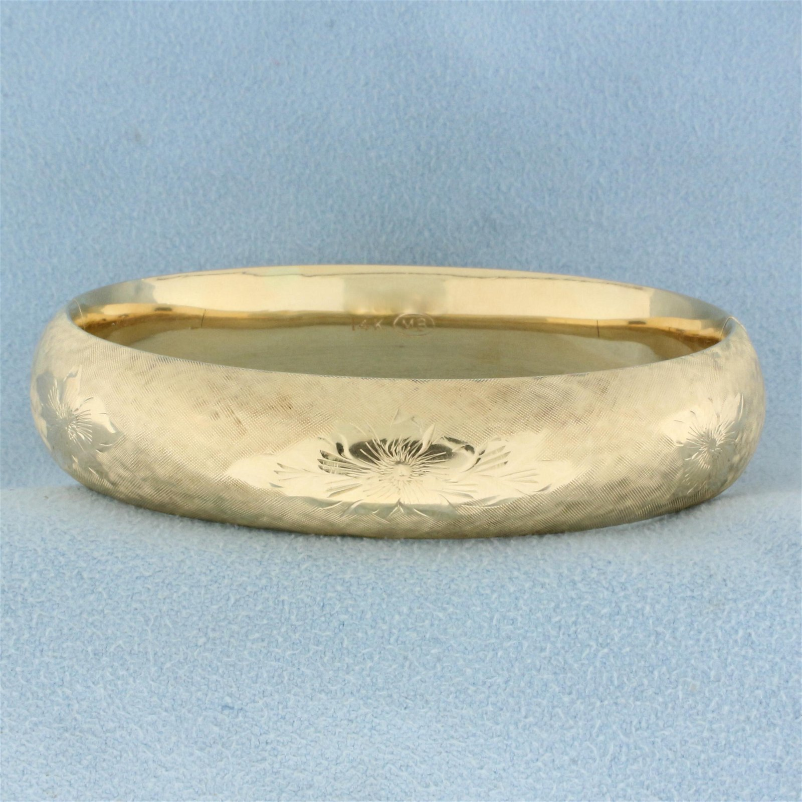 Engraved Bangle Bracelet in 14K Yellow Gold