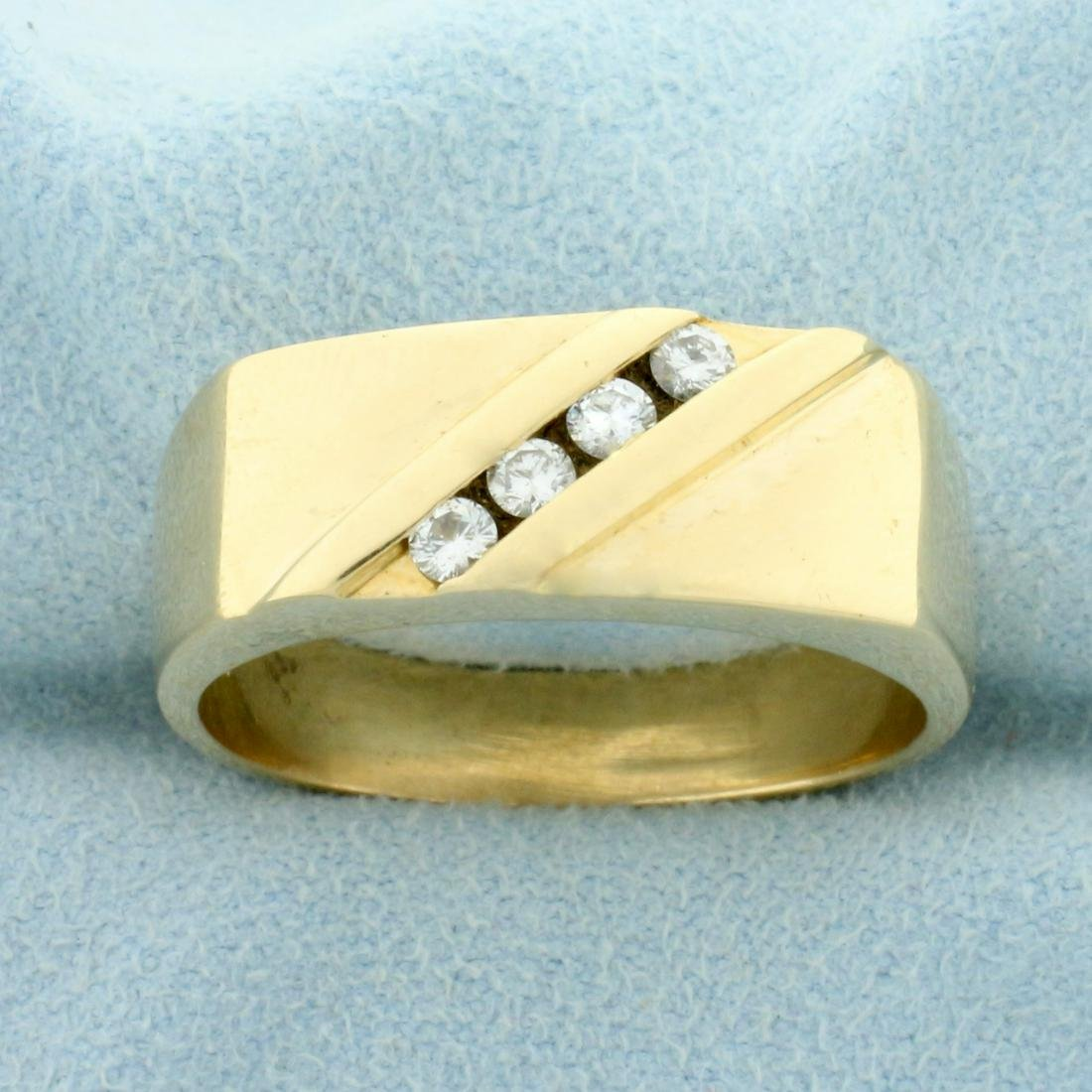 Men's Four Stone Diamond Ring in 14K Yellow Gold