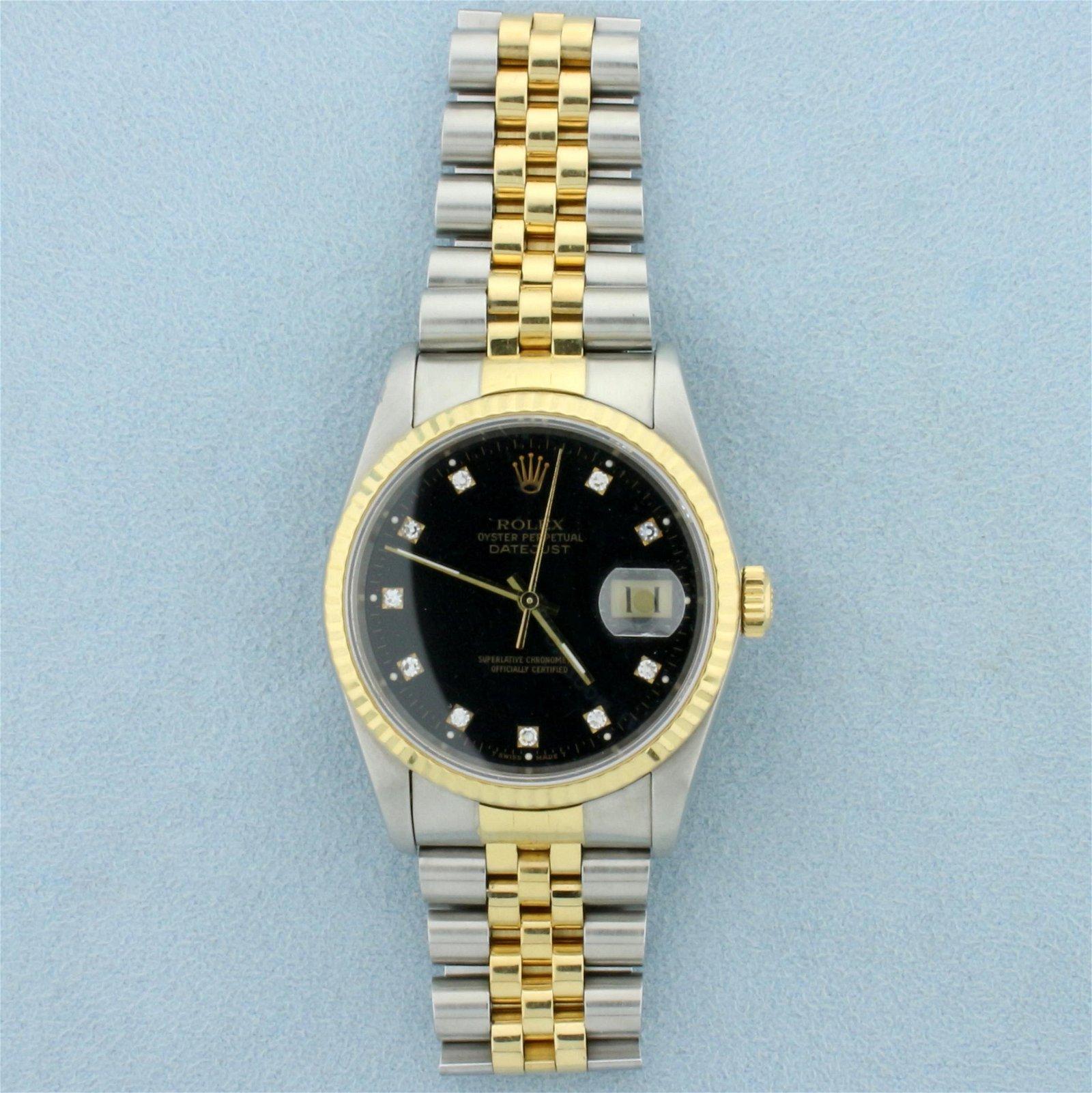 Men's Rolex DateJust 36mm Watch With Black Diamond Dial