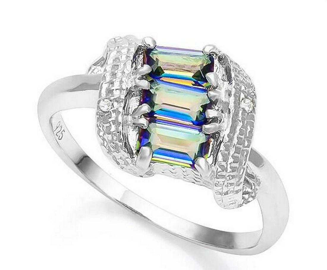 Ocean Mystic Topaz & Diamond Scroll Ring in Sterling