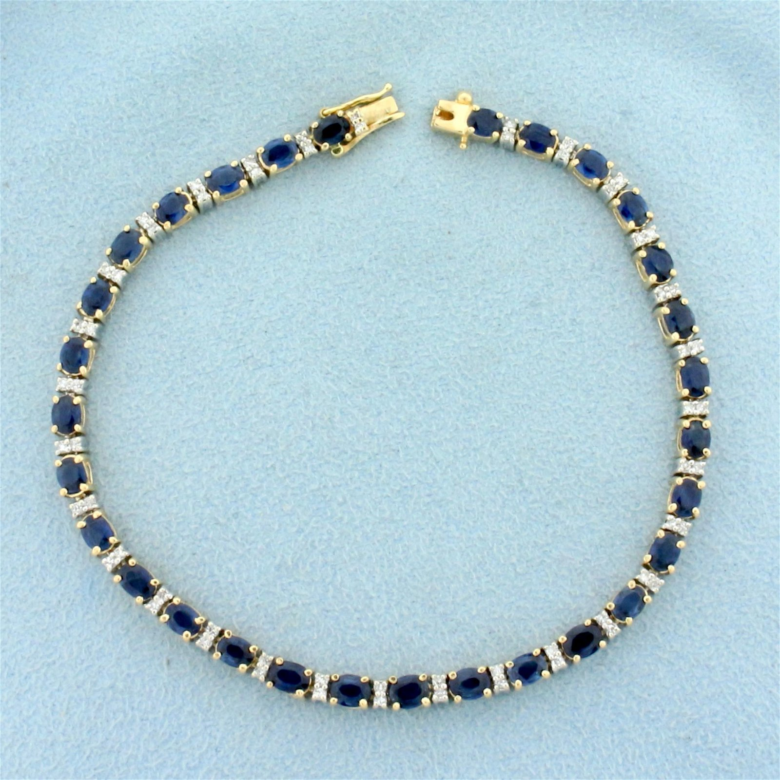 5ct TW Sapphire and Diamond Bracelet in 14K Yellow Gold