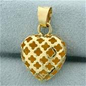 Cut Out 3D Heart Pendant in 14K Yellow Gold