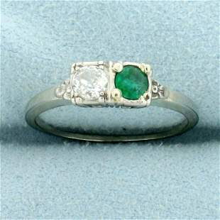 Antique Emerald and Diamond Two Stone Ring in 18K White