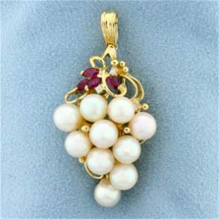 Diamond, Ruby, and Pearl Grapevine Pendant or Pin in