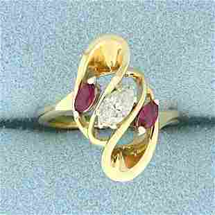 Marquise Diamond and Ruby Ring in 14K Yellow Gold