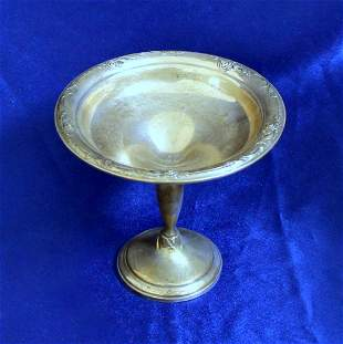 Vintage Damask Rose Sterling Silver Compote or Candy