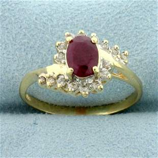 1ct TW Ruby and Diamond Bypass Ring in 14K Yellow Gold