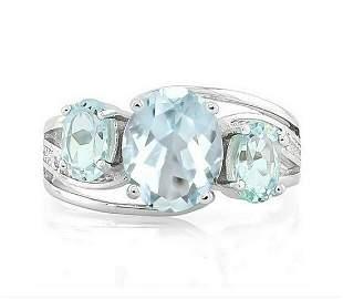 Large Aquamarine & Blue Topaz 3-Stone Diamond Ring in