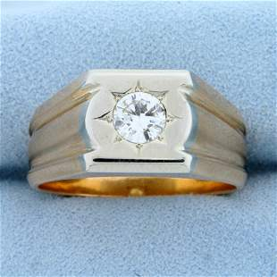 Men's 1ct Solitaire Diamond Ring in 18K White and Rose