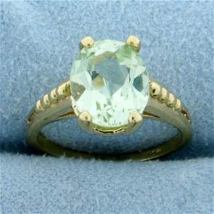 Rare 3ct Mint Green Chrysoberyl Ring in 14K Yellow Gold