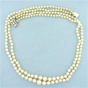 Vintage Graduated Pearl Double Strand Necklace With 14K