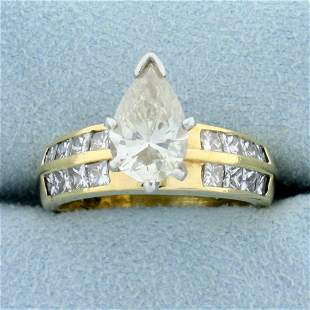 3 1/2ct TW Pear Shaped Diamond Engagement Ring in 18k