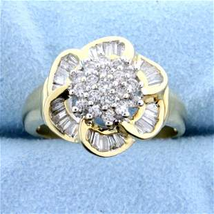 Over 2ct TW Diamond Flower Design Ring in 14k Yellow