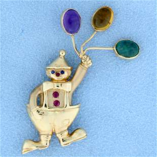 Ruby and Sapphire Clown Pin or Pendant in 14k Yellow