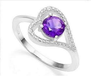 Amethyst & Diamond Heart Ring in Sterling Silver