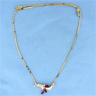 Italian-Made Ruby and Diamond Necklace in 14K Yellow