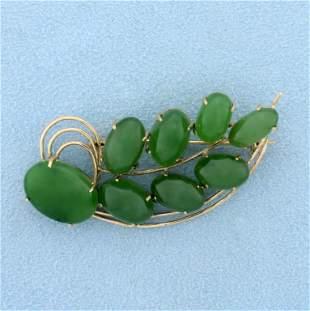 Vintage Jade Pin in 14K Yellow Gold