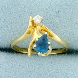 London Blue Topaz and Diamond Ring in 14K Yellow Gold