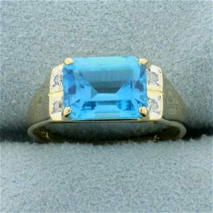Swiss Blue Topaz and Diamond Ring in 14K Yellow Gold