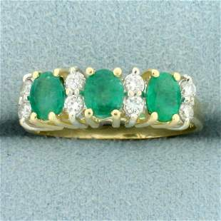 1.5ct TW Natural Emerald and Diamond Ring in 14K Yellow