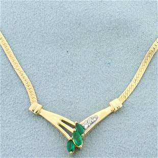 Vintage Emerald and Diamond Necklace in 14K Yellow Gold
