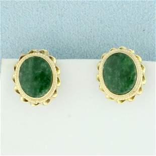 Natural Jade Earrings in 14K Yellow Gold