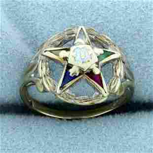 Vintage Order of The Eastern Star Ring in 10K White