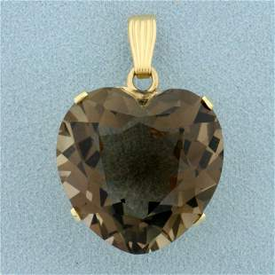Large 55ct Smoky Topaz Heart Shaped Pendant in 14K
