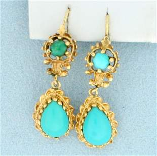 Vintage Turquoise Dangle Earrings in 14K Yellow Gold