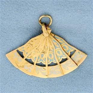Mechanical Asian Style Fan Pendant in 18K Yellow Gold