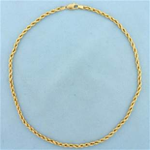 16 1/2 Inch Rope Style Chain Necklace in 14K Yellow
