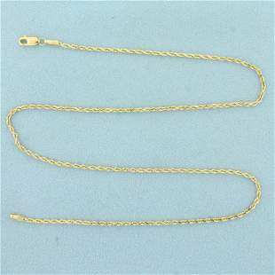 16 Inch Rope Link Chain Necklace in 14K Yellow Gold